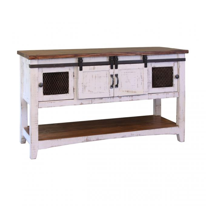 White Rustic Sofa Table Console