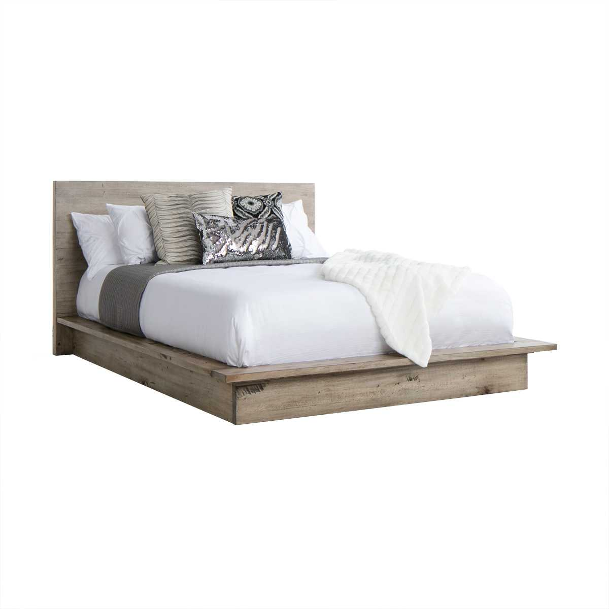 Picture of: Grey Reclaimed Wood Platform Bed Frame Cal King Jerome S Furniture