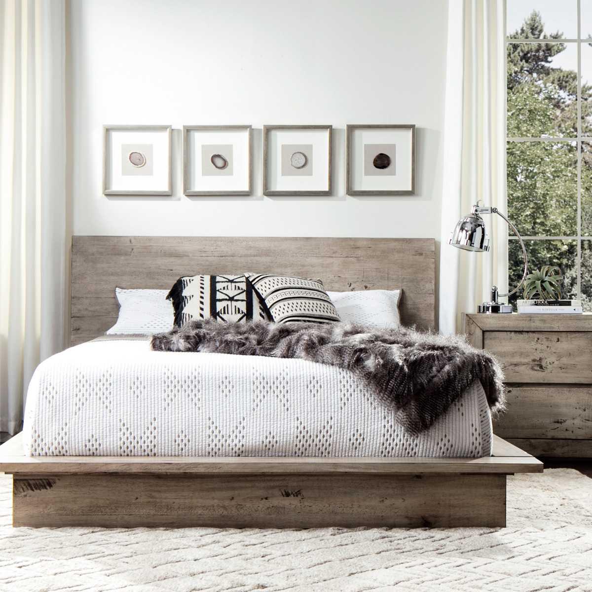 Grey Reclaimed Wood Bedroom Set Queen Size Jerome S