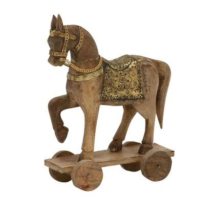 Small Wood/Metal Horse - Statuette